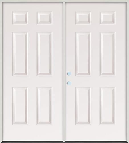 6-Panel Steel Patio Prehung Double Door Unit