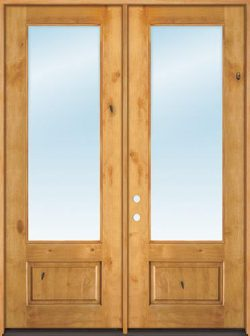 "8'0"" Tall 3/4 Lite Clear Low-E Knotty Alder Wood Double Door Unit"