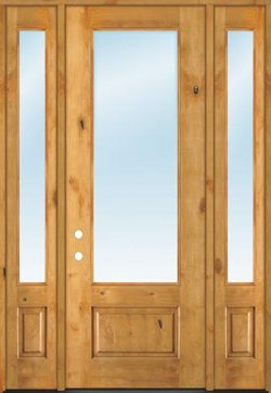 """8'0"""" Tall 3/4 Lite Clear Knotty Alder Wood Door Unit with Sidelites"""