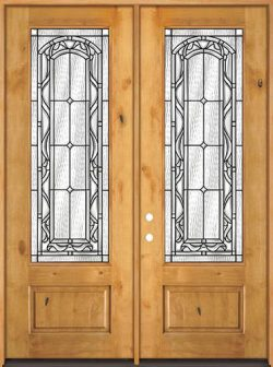 "8'0"" Tall 3/4 Lite Knotty Alder Wood Double Door Unit #292"