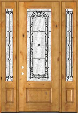 "8'0"" Tall 3/4 Lite Knotty Alder Wood Door Unit with Sidelites #292"