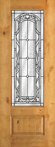 "8'0"" Tall 3/4 Lite Knotty Alder Wood Door Slab #292"