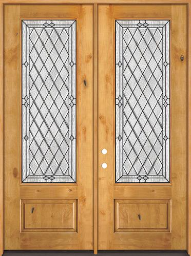 "8'0"" Tall Diamond 3/4 Lite Knotty Alder Wood Double Door Unit #294"