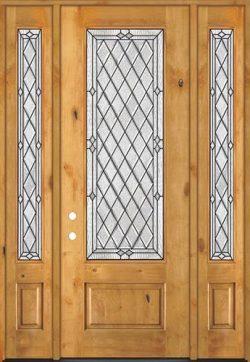 "8'0"" Tall Diamond 3/4 Lite Knotty Alder Wood Door Unit with Sidelites #294"