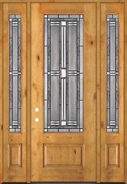 "8'0"" Tall 3/4 Lite Knotty Alder Wood Door Unit with Sidelites #297"