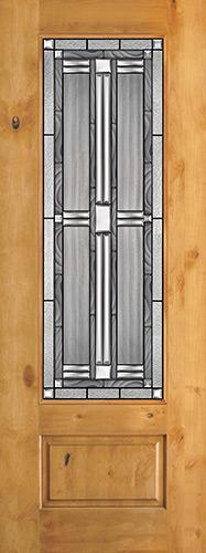 "8'0"" Tall 3/4 Lite Knotty Alder Wood Door Slab #297"