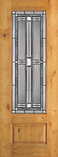 "8'0"" Tall 3/4 Lite Knotty Alder Wood Door Slab #297"