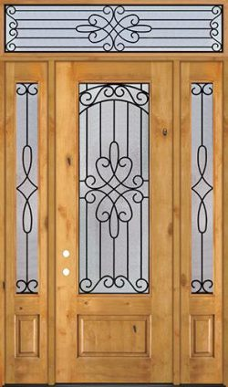 """8'0"""" Tall 3/4 Lite Knotty Alder Wood Door Unit with Transom #299"""