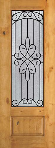 "8'0"" Tall 3/4 Lite Knotty Alder Wood Door Slab #299"