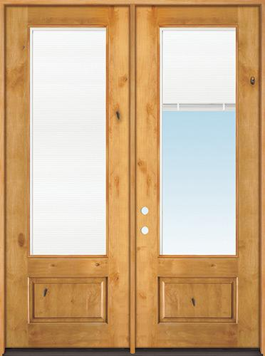 "8'0"" Tall 3/4 Mini-blind Knotty Alder Wood Double Door Unit"