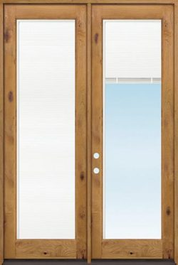"8'0"" Tall Full Mini-blind Low-E Knotty Alder Wood Double Door Unit"