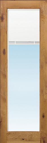 "8'0"" Tall Full Mini-blind Low-E Knotty Alder Wood Door Slab"