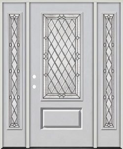 Diamond 3/4 Lite Fiberglass Prehung Door Unit with Sidelites #274