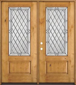 Diamond 3/4 Lite Knotty Alder Wood Double Door Unit #274