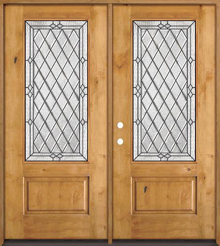 Diamond 3/4 Lite Knotty Alder Wood Double Door Unit #274