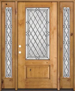Diamond 3/4 Lite Knotty Alder Wood Door Unit with Sidelites #274