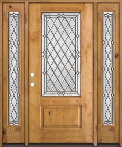 Diamond 3/4 Lite Knotty Alder Wood Door Unit with Sidelites #274