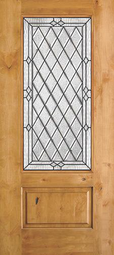 Diamond 3/4 Lite Knotty Alder Wood Door Slab #274