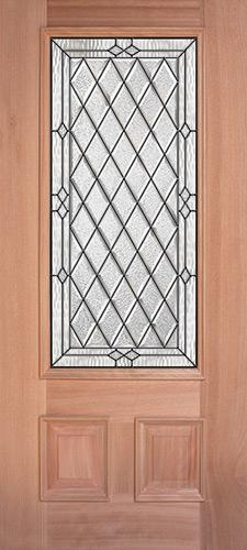 Diamond 3/4 Lite Mahogany Wood Door Slab #274