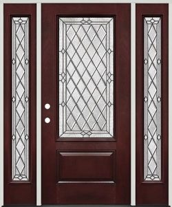 Diamond 3/4 Lite Pre-finished Mahogany Fiberglass Prehung Door Unit with Sidelites #274
