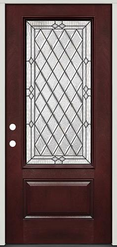 Diamond 3/4 Lite Pre-finished Mahogany Fiberglass Prehung Door Unit #274