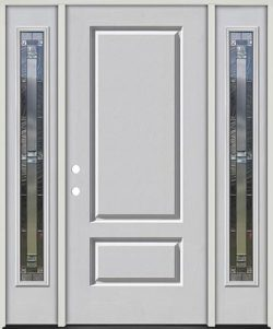 3/4 Panel Fiberglass Prehung Door Unit with Sidelites #277