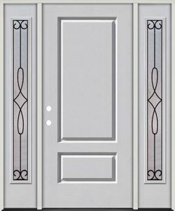 3/4 Panel Fiberglass Prehung Door Unit with Sidelites #279