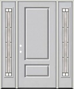 3/4 Panel Fiberglass Prehung Door Unit with Sidelites #67