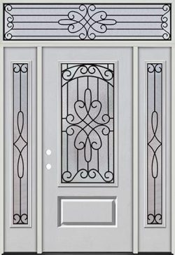 3/4 Lite Fiberglass Prehung Door Unit with Transom #279