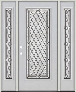 Diamond Full Lite Fiberglass Prehung Door Unit with Sidelites #294
