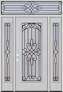Full Lite Fiberglass Prehung Door Unit with Transom #299