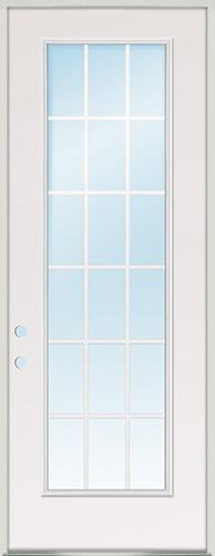 "8'0"" Tall 18-Lite GBG Fiberglass Prehung Door Unit"