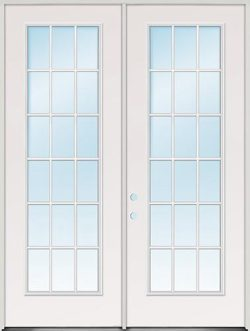 "8'0"" Tall 18-Lite Fiberglass Patio Door Unit"