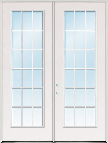 "8'0"" Tall 18-Lite Fiberglass Patio Door Unit"