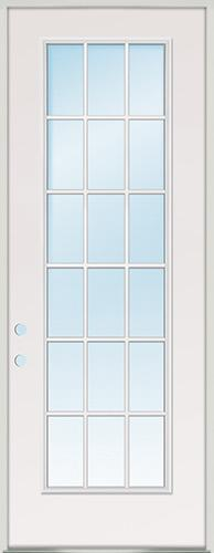 "8'0"" Tall 18-Lite Fiberglass Prehung Door Unit"