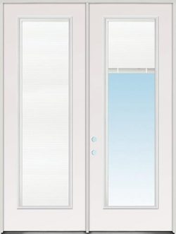 "8'0"" Tall Mini-blinds Fiberglass Patio Door Unit"
