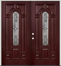 Center Arch Pre-finished Mahogany Fiberglass Prehung Double Door Unit #66