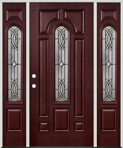 Center Arch Pre-finished Mahogany Fiberglass Prehung Door Unit with Sidelites #66