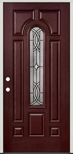 Center Arch Pre-finished Mahogany Fiberglass Prehung Door Unit #66