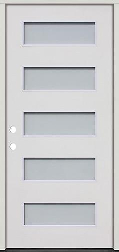 Modern 5-Lite Fiberglass Prehung Door Unit #325