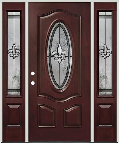 Fleur-de-lis 3/4 Oval Pre-finished Mahogany Fiberglass Prehung Door Unit with Sidelites #44