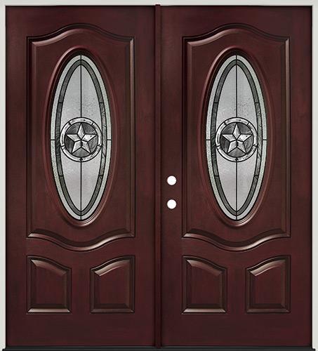 Texas Star 3/4 Oval Pre-finished Mahogany Fiberglass Prehung Double Door Unit #60