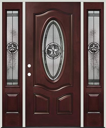 Texas Star 3/4 Oval Pre-finished Mahogany Fiberglass Prehung Door Unit with Sidelites #60