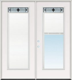 Miniblind with Iberia Iron Glass Fiberglass Patio Prehung Double Door Unit