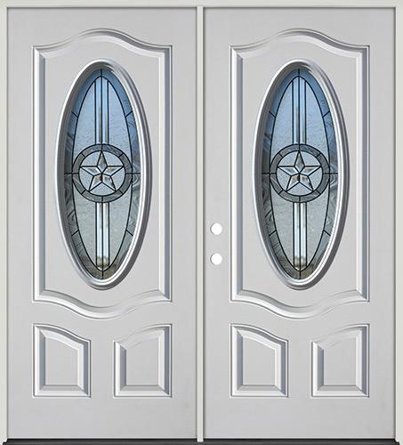 3/4 Oval Texas Star Fiberglass Prehung Double Door Unit #60