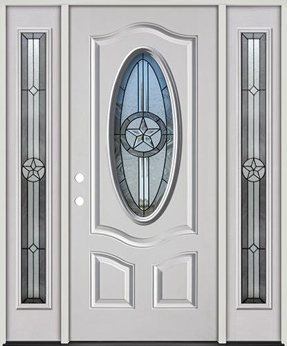 3/4 Oval Texas Star Fiberglass Prehung Door Unit with Sidelites #60