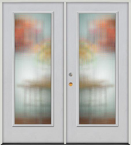 Privacy Glass Full Lite Fiberglass Prehung Double Door Unit