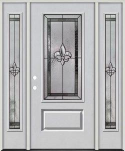 Fleur-de-lis 3/4 Lite Fiberglass Prehung Door Unit with Sidelites #48