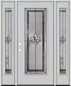 Fleur-de-lis Full Lite Fiberglass Prehung Door Unit with Sidelites #84