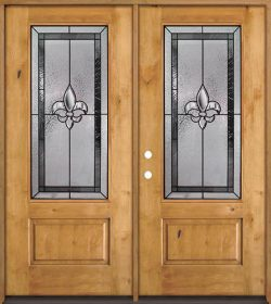 Fleur-de-lis 3/4 Lite Knotty Alder Wood Double Door Unit #48
